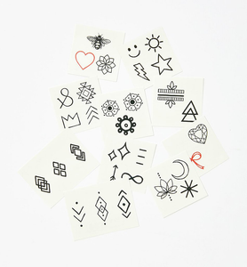 All Designs including black line symbols and two red line symbols from the Finger Tats Pack Temporary Tattoos