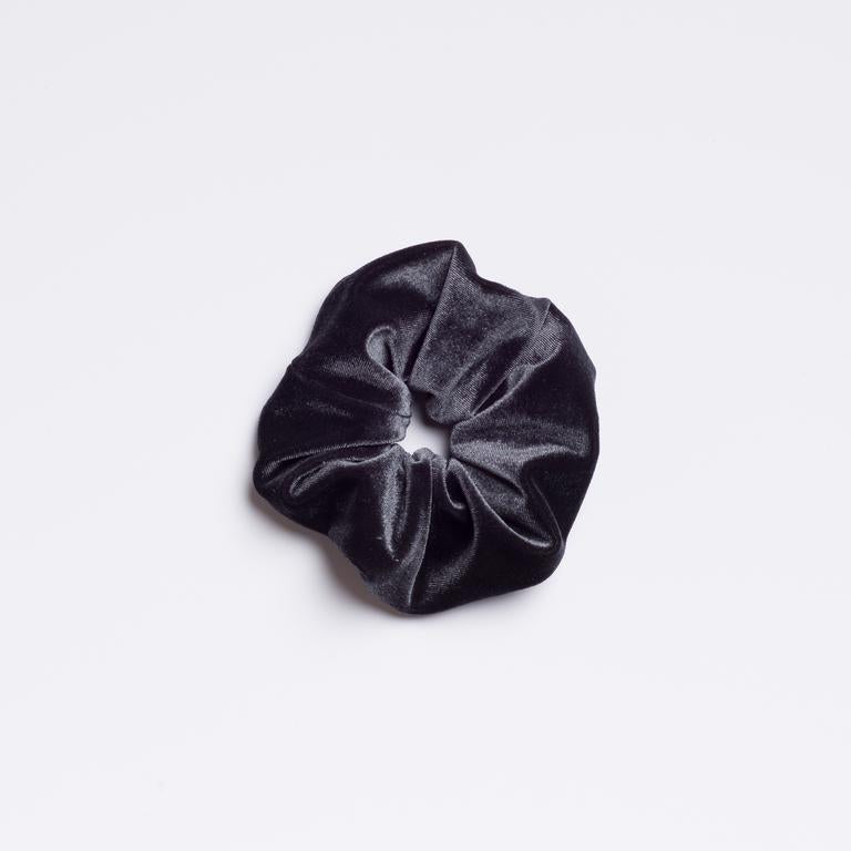 Slate grey velvet Smokestack Lightnin' Scrunchie from I'm With the Band laying flat