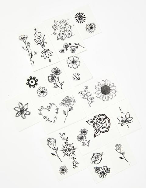 all designs (various black line flowers) included in Flower Child Pack Temporary Tattoos by Inked by Dani