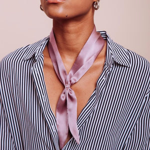 Close up of Light Purple silk Purple Haze Scarf Tie on a Model around her neck