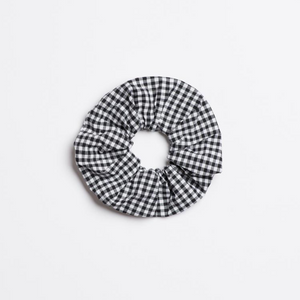 Loretta Black Scrunchie in cotton black and white gingham from I'm With the Band laying flat
