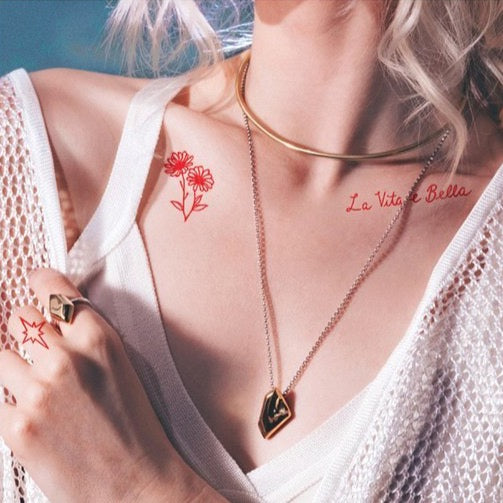 Red Ink Pack Temporary Tattoos from Inked by Dani modeled on collarbones of model