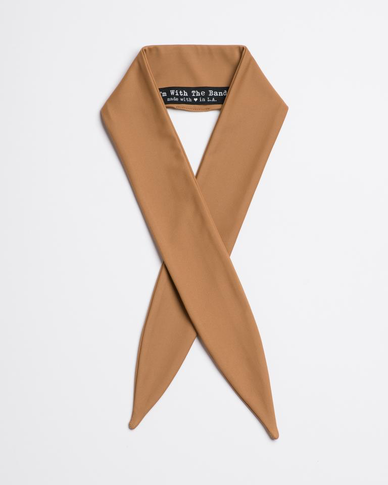 Matte tan Wild Horses Scarf Tie from I'm With the Band laying flat