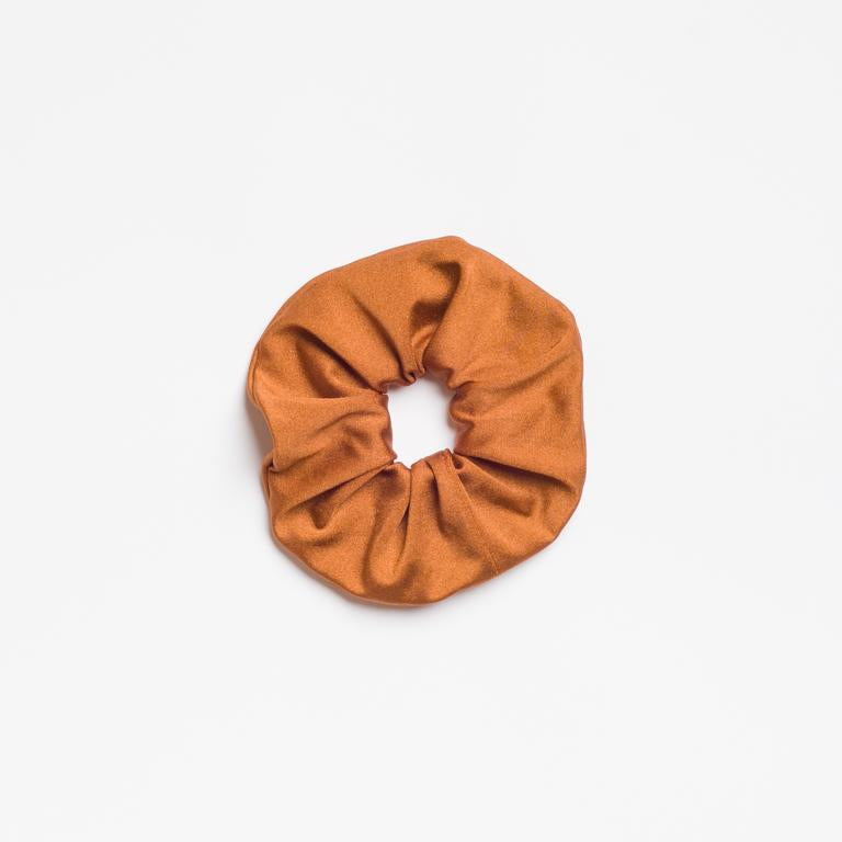 Tan orange Route 66 Scrunchie from I'm With the Band laying flat