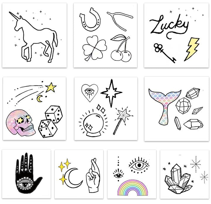 Designs including black line and few colored images of luck and magic in Luck and Magic Pack Temporary Tattoos from Inked by Dani