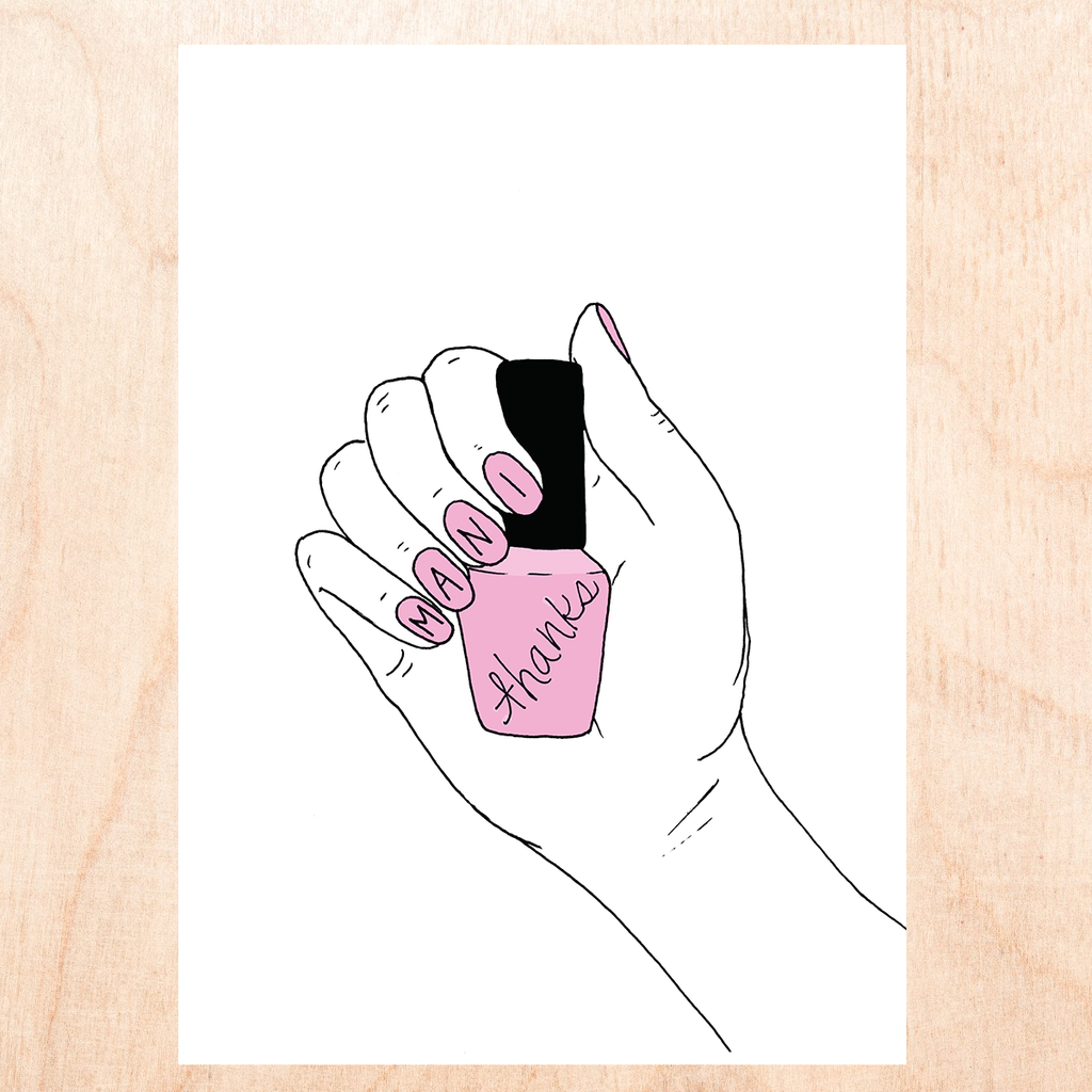 "white background with cartoon drawing of hand with pink nails holding a pink bottle of nail polish that reads, ""Mani"" with a letter on each nail and ""thanks"" on the polish bottle."