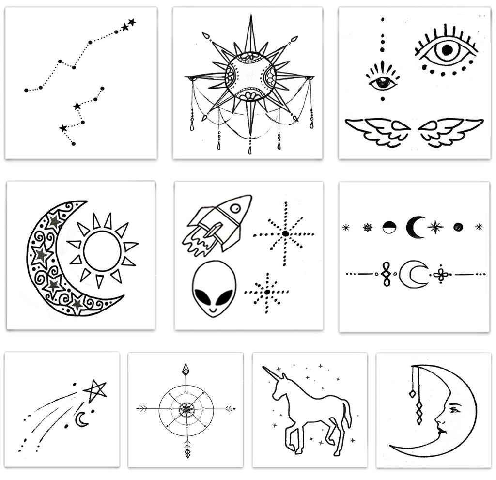 Designs including constellations, stars etc in The Cosmic Pack Temporary Tattoos from Inked by Dani