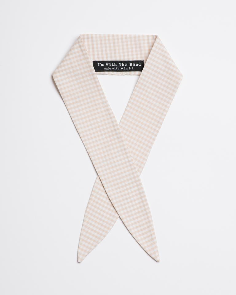 Loretta Sand Scarf Tie in sand and white cotton gingham from I'm With the Band laying flat