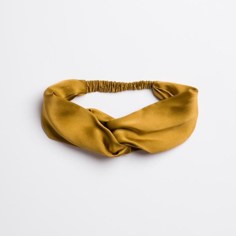 Golden Canyon Turban Headband which is silk and brownish yellow colored from I'm With the Band