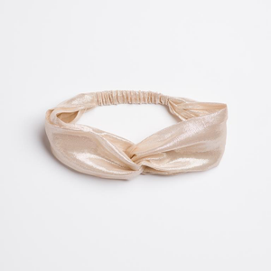 Shimmery cream silk The Dolly Turban Headband  from I'm With the Band