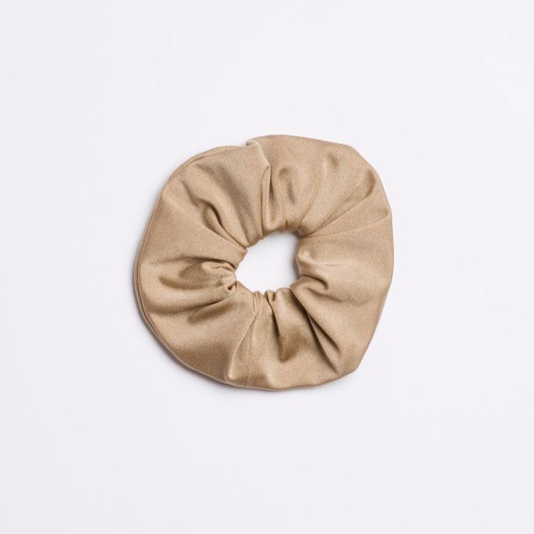 Tan Rhinestone Cowboy Scrunchie from I'm With the Band laying flat