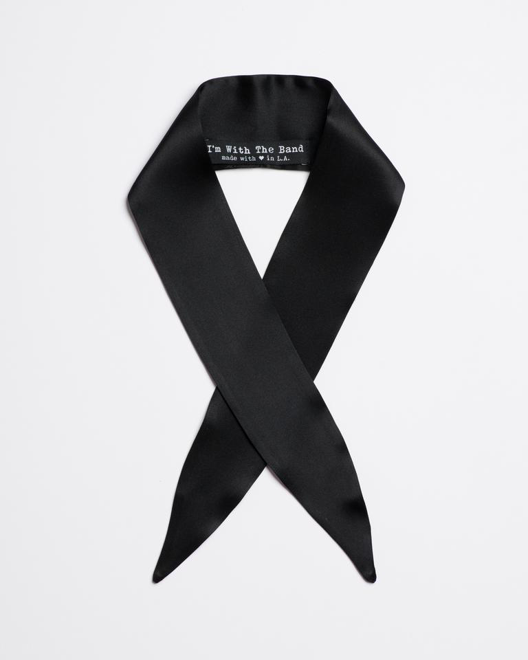 Black silk The CashScarf Tie from I'm With the Band laying flat