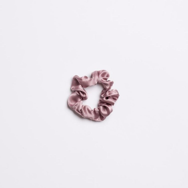 Light Purple silk Purple Haze Mini Scrunchie from I'm With the Band laying flat