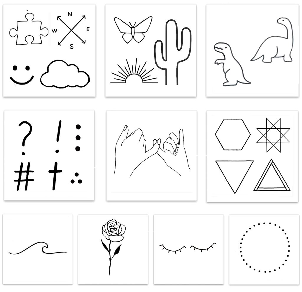 Every design including black line geometric shapes, symbols, dinosaurs in the Barely There Pack Temporary Tattoos