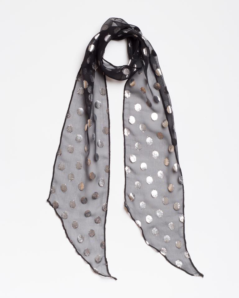 Sheer silk black with silver dots The Bolan Scarf from I'm With the Band