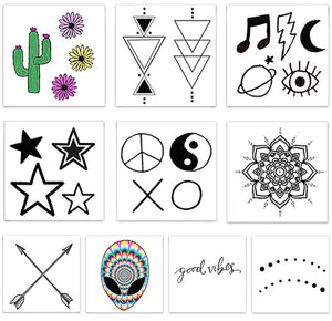 Designs including two sheets of colored and black line The Festival Pack line symbols Temporary Tattoos from Inked by Dani