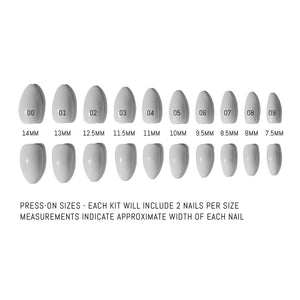 Press-on size chart that displays the measurements of all 20 nails included in the kit.  Each kit includes 2 nails per size with measurements that indicate the approximate width of each nail.  There are two rows of 10 nails and the are labeled from largest to smallest (left to right) as 00 (14mm), 01 (13mm), 02 (12.5mm), 03 (11.5mm), 04 (11mm), 05 (10mm), 06 (9.5mm), 07 (8.5mm), 08 (8mm), 09, (7.5mm)