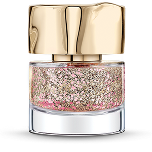 Large baby-pink and small platinum-gold glitter particles suspended in Clear Base Smith & Cult nail polish bottle with dented gold cap