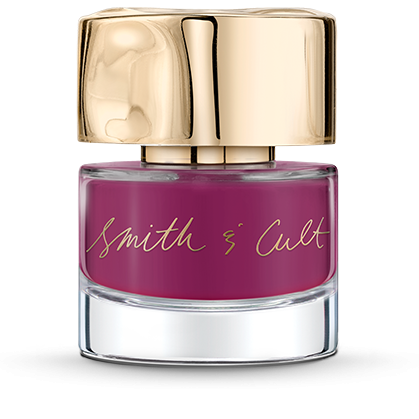 Opaque vibrant plum Smith & Cult nail polish bottle with dented gold cap