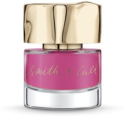 Opaque fuchsia pink Smith & Cult nail polish bottle with dented gold cap