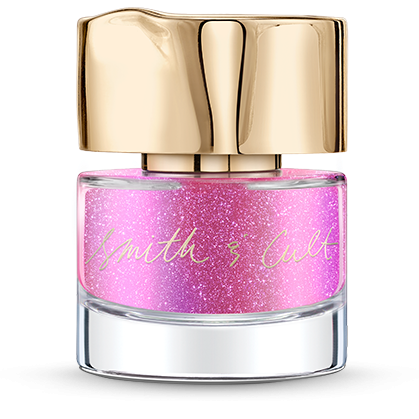 Metallic fuchsia pink Smith & Cult nail polish bottle with dented gold cap
