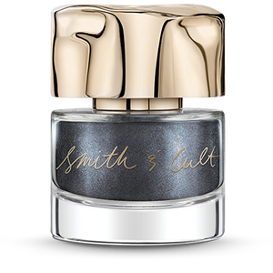 Metallic Midnight Blue Smith & Cult nail polish bottle with dented gold cap