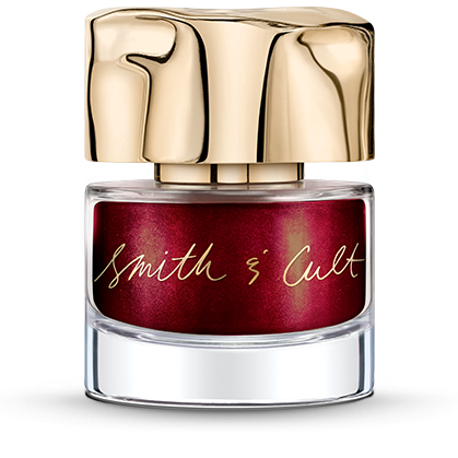 Opaque Dark Metallic Crimson Smith & Cult nail polish bottle with dented gold cap