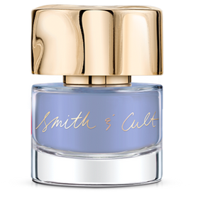 Opaque periwinkle Smith & Cult nail polish bottle with dented gold cap