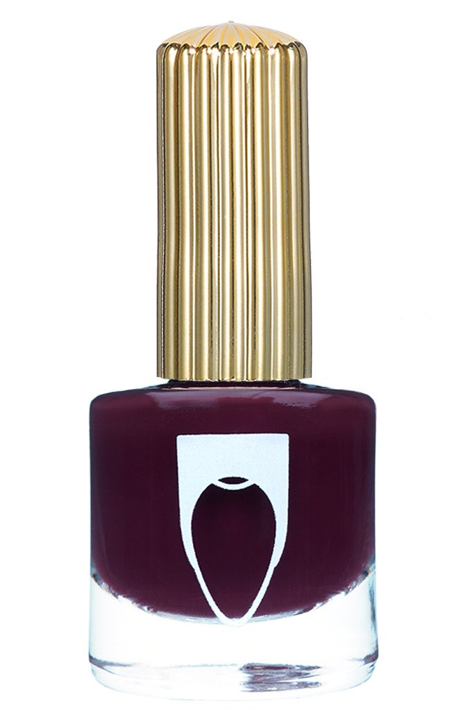Dark dusty plum color Floss Gloss nail polish in Smoke on the nail
