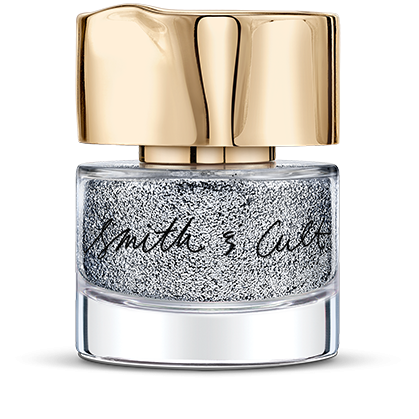 Silver glitter Smith & Cult nail polish bottle in dented gold cap