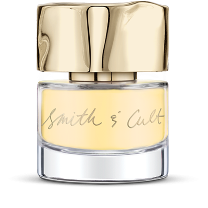 Opaque buttery sunshine Smith & Cult nail polish bottle with dented gold cap