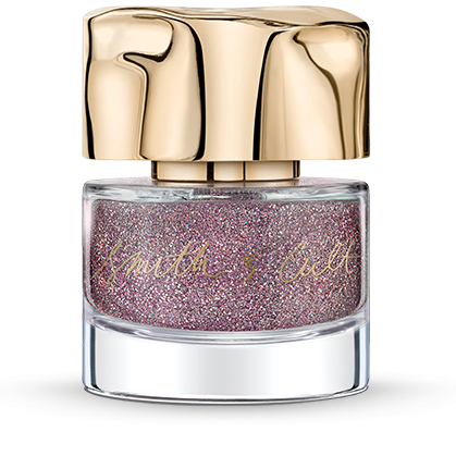 Ultra fine holographic lavender glitter suspended in clear Smith & Cult nail polish base bottle with dented gold cap