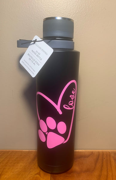 "Williams Sonoma ""love & Paw"" Stainless Steel Bottle"