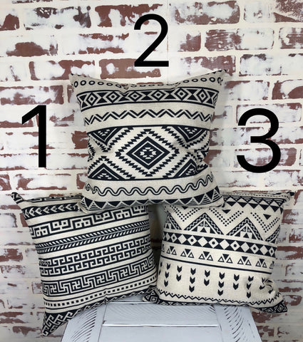 Black and White Tribal Throw Pillows