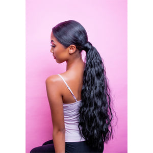 Jet black ponytail