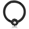 316L Black stell seamless hoop with jewelled flower (BKCORX)
