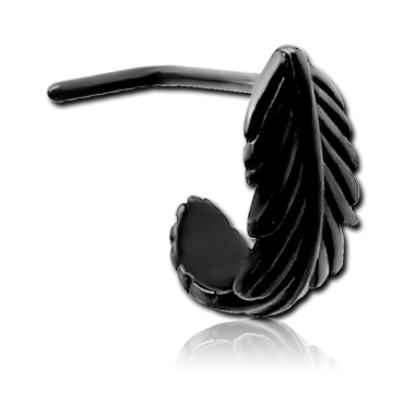 316lL Black steel nose stud-wrap around feather (BKSCN1)