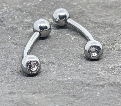 316L - 16G Double Jewelled Curved Barbell (CVY-16)
