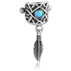 316L Helix Shield with Turquoise Stone & Feather dangle (HS2)