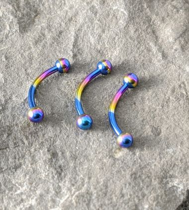 anodized titanium micro curved barrbell (TCV)