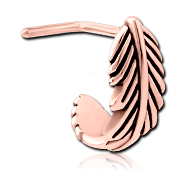 316L Rose gold nose stud - feather wrap around (RGSCN1)