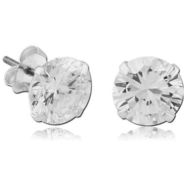 Sterling silver round prong set ear studs (SER2-CR)