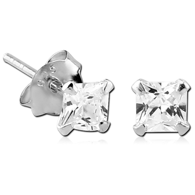 Sterling silver prong set ear stud (SER3-CR)