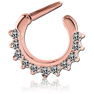 Rose gold pvd coated 316L hinged septum clicker (RGSC3)