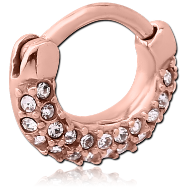 Rose gold Pvd Coated 316l jewelled hinged clicker (RGSC5)