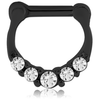 316L black steel round jewelled hinged septum clicker (BKSC4)