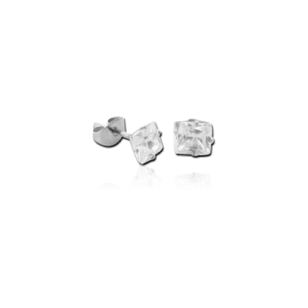 Titanium Square prong set ear studs (TER2-CR)