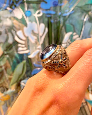 Blue Topaz Ring with Flower Design - Flower + Hewes