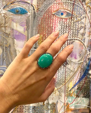 Chrysoprase Oval Cut Ring - Flower + Hewes