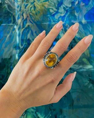 Citrine Ring with Blue Topaz and Diamonds - Flower + Hewes